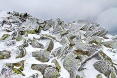 Kamienie zakrywający z lodem Zdjęcie Royalty Free