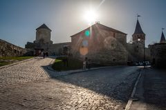 Kamieniec Podolski -9 April 2018.  fortress - one of the most fa. Mous and beautiful castles in Ukraine Royalty Free Stock Photo