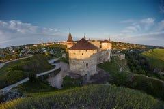 Kamieniec Podolski - jeden piękni i sławni kasztele w Ukraina Obraz Stock