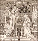 Kamieniodruk Annunciation w Missale Romanum projektujący niewiadomym artystą 1892 zdjęcie stock