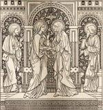 Kamieniodruk dopust w Missale Romanum niewiadomym artystą z inicjałami F M S 1885 obraz stock