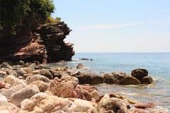 Kamieniste plaże na Adriatyckim wybrzeżu, Montenegro Bałkany, Europa fotografia royalty free