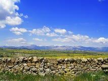 Kamienna ściana w łące Obrazy Stock