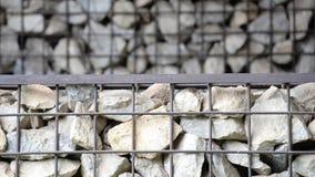 Kamienna ściana z żelazo sieci tekstury tła szczegółem Fotografia Stock