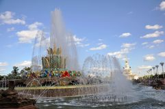 Kamienna fontanna na terytorium wystawa osi?gni?cia narodowa gospodarka zdjęcia royalty free