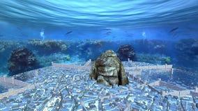 Kamienna góra otaczająca przegranym miastem pod oceanem zbiory