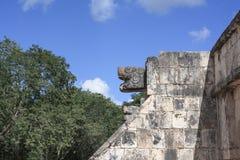 Kamienna jaguar głowy statua przy platformą jaguary w Majskich ruinach Chichen Itza i Eagles, Meksyk Fotografia Royalty Free