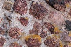 Kamienna kanwa dużo brązowić czerwoną kanwę w cementowej moździerzowej starej fort ściany projekta sztywno brezentowej bazie obrazy stock