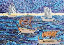 Kamienna mozaika żaglówki obraz royalty free