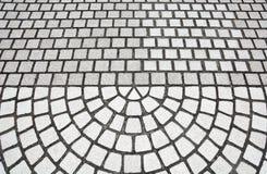 Kamienna mozaiki podłogi tekstura, kamienna bruk podłoga w półkole wzorze zdjęcie royalty free
