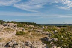 Kamienna pustynia blisko Varna, Bułgaria (Pobiti kamani) Obraz Stock