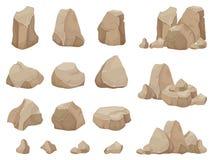 Kamienna skała Dryluje głaz, żwiru gruz i stos skała wektoru kreskówka odizolowywający set, royalty ilustracja