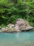 Kamienna skała w halnej rzece z turkus wodą z zielonymi brzeg zdjęcie stock