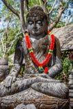 Kamienna statua Siedzieć Buddha pod drzewem, Bali, Indonezja Pionowo wizerunek obraz royalty free