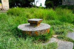 Kamienna stolec dla koronacyjnej pobliskiej katedry Nasz dama Mary Zion, Axum, Etiopia Obrazy Stock