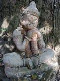 Kamienna sypialna Gigantyczna rzeźba chroni świątynię Zdjęcia Royalty Free