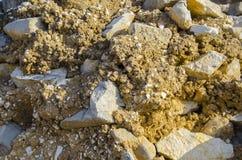Kamienna tekstura, zakończenie żółta kamienna ściana Zdjęcie Royalty Free