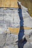 Kamienna tekstura, zakończenie żółta kamienna ściana Obraz Stock