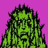 Kamienna twarz ludzka z ostrymi cierniami również zwrócić corel ilustracji wektora ilustracji