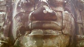 Kamienna twarz na wierza antyczna świątynia. Bayon, Angkor, Kambodża zbiory
