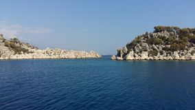 Kamienne wyspy w morzu egejskim, raju miejsce Fotografia Royalty Free