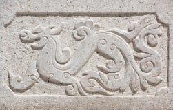 Kamiennej ściany smok rzeźbiący w Chiny wzorze Zdjęcia Royalty Free