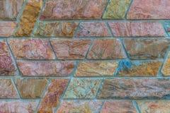 Kamiennej ściany tło; brown czerwień wzór blokuje tapetę Obraz Royalty Free