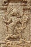 Kamienni bareliefy na ścianach Achyuta Rayas świątynia o kurtyzany ` s ulicie - Sule bazar w Hampi, Karnataka, India zdjęcie stock