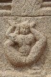 Kamienni bareliefy na ścianach Achyuta Rayas świątynia o kurtyzany ` s ulicie - Sule bazar w Hampi, Karnataka, India zdjęcie royalty free