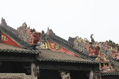 Kamienni cyzelowania w antycznej Chińskiej architekturze Zdjęcia Royalty Free