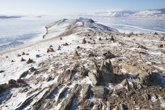 Kamienni ostrosłupy dla duchów Ogoi wyspa baikal jeziora Zdjęcie Royalty Free