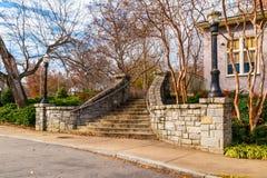 Kamienni schodki w Podgórskim parku, Atlanta, usa obraz stock