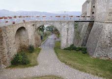 Kamienny bridżowy historyczny centrum Agropoli wioska Obrazy Stock
