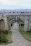 Kamienny bridżowy historyczny centrum Agropoli wioska Obraz Stock