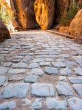 Kamienny bruk Al Siq przejście antyczny Petra Zdjęcie Royalty Free