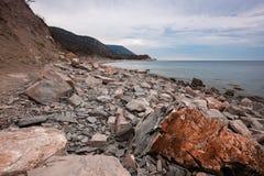 Kamienny denny wybrzeże w ranku Zdjęcia Royalty Free