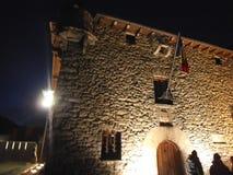 Kamienny dom przy nocą w Andorra losie angeles Vella obraz stock