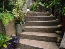 Kamienny drewniany schodka sposób w ogródzie Fotografia Royalty Free