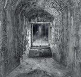 Kamienny dungeon z okno i barami Zdjęcia Royalty Free
