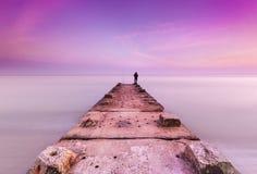 Kamienny jetty i spokojni morza Fotografia Royalty Free