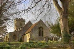 Kamienny kościół przy wiosną Obrazy Royalty Free