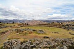Kamienny okrąg w inka forteczny Saksaywaman, Cusco Zdjęcie Royalty Free