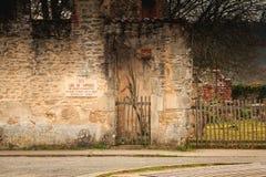 Kamienny panel - tutaj miejsce tortura dokąd ja napisze w Francuskim Fotografia Stock