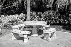 Kamienny stół i ławki w Miami, usa fotografia royalty free