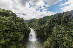 Kamikawa Otaki Waterfall and green forest in Kagoshima, Kyushu. Japan stock images