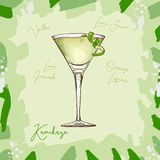 Kamikaze fresh Contemporary classic cocktail illustration. Alcoholic bar drink hand drawn vector. Pop art royalty free illustration