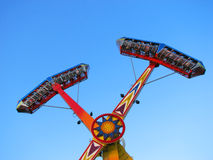 Kamikaze in funfair. Kamikaze upside down in mid air in funfair Stock Photos
