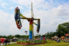 Kamikaze in mid air in a funfair Royalty Free Stock Photo