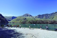 Kamikochi. Is the crown jewel of the Japanese Alps. The scenic area is a basin at 1500 meters elevation. One of the most beautiful tensions hangs between the Royalty Free Stock Photo