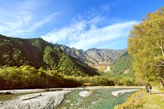 Kamikochi. Is the crown jewel of the Japanese Alps. The scenic area is a basin at 1500 meters elevation. One of the most beautiful tensions hangs between the Stock Image